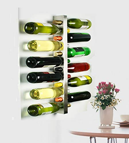 Wine Metal Holder Wall - L&X Stainless Steel Wall Mounted Wine Rack 12 Bottle Wine Bottle Holder Wine Shelf Wine Bar Contemporary Wine Rack 12 Bottle Metal Wall Mounted Wine Rack, Wine Bottle Rack Horizontal Wine Bottle Rack