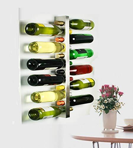 L&X Stainless Steel Wall Mounted Wine Rack 12 Bottle Wine Bottle Holder Wine Shelf Wine Bar Contemporary Wine Rack 12 Bottle Metal Wall Mounted Wine Rack, Wine Bottle Rack Horizontal - Rack Wine Hanging Contemporary