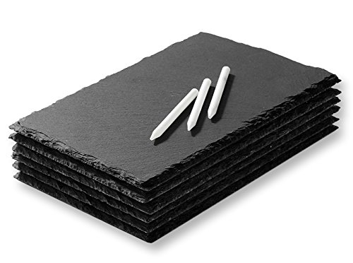 Mini Slate Cheese Boards - Serving Trays for All Occassions - Modern Style - Easy to Clean - Set of 6 Slate Trays - Chalk Included - 6 x 0.1 x 8.75 Inches