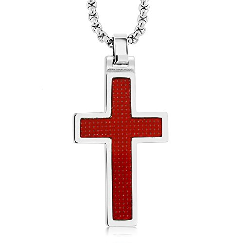 SOLID RED CARBON FIBER TUNGSTEN CARBIDE CROSS PENDANT ON 3MM STAINLESS STEEL BOX CHAIN NECKLACE