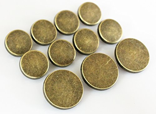 YCEE 11 Pieces Vintage Antique Brass (Bronze) Plain Metal Blazer Button Set - Flat Surface - For Blazer, Suits, Sport Coat, Uniform, Jacket
