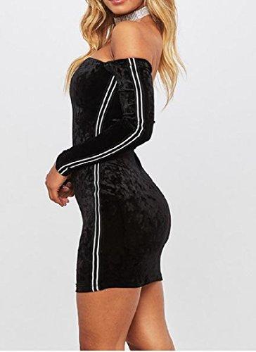 Dress Women Coolred Webbing Off Shoulder Velvet Gold Mini Chic Black Bodycon 1qdwxzAq