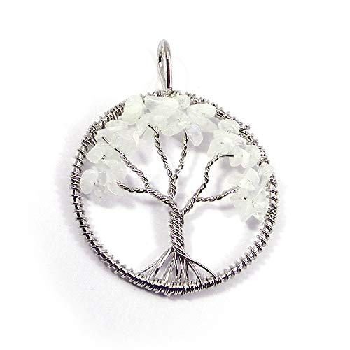 (Shilpi Impex Tree of Life Pendant - 925 Sterling Silver Pendant - Handmade - Wire Wrapped Pendant Necklace (Moonstone-Gemstone))