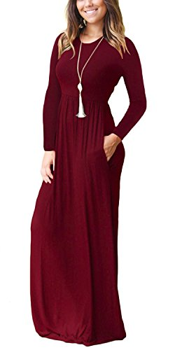 cb4e6327143 AUSELILY Women Long Sleeve Loose Plain Long Maxi Casual Dress with Pockets