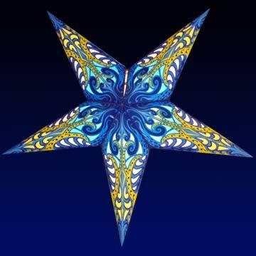 Happy Sales HSSL-FLBLUA Frozen Lake Paper Star Lantern Blue,
