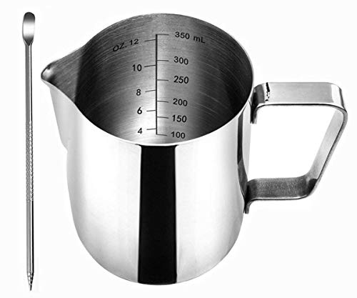 Frothing Pitcher, Liyahog 12oz Stainless Steel Creamer Milk Frothing Pitcher- Measurements Inside - Perfect for Espresso Machines, Milk Frothers, Latte Art (350ml / 12oz)