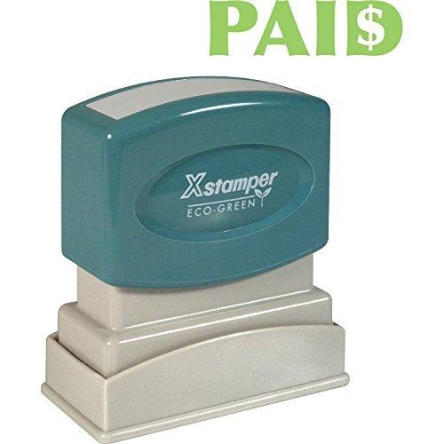 Xstamper Light - Xstamper Title Message Stamp, Paid, Pre-Inked/Re-inkable, Light Green