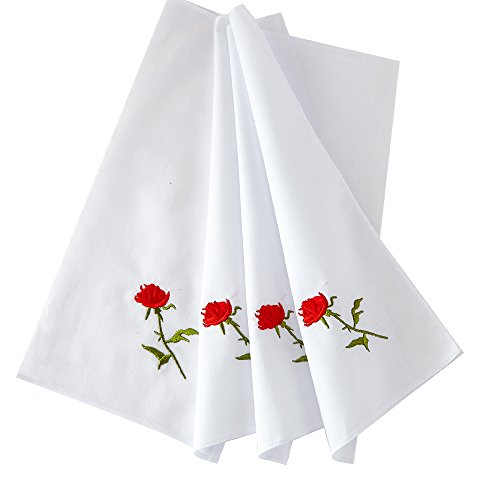 HANKYTEX Cotton Embroidery Ladies' Handkerchiefs Lace Set of 6 (set 010)