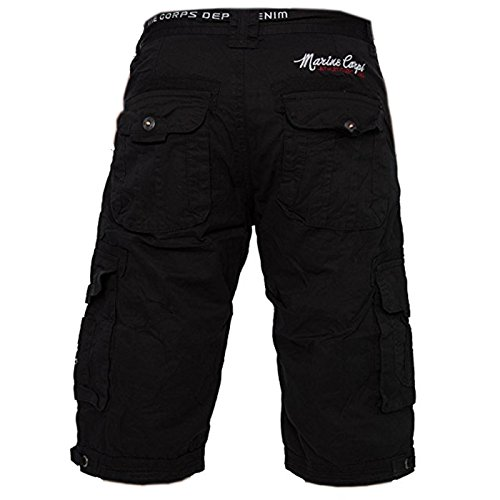 Pantaloncini da uomo con H1801 cinghia (vari colori), Farben:Black-2;Größe-Shorts:W31