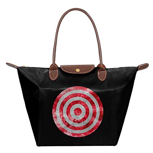 Folding Dumpling Type Bag Red Vortex Target Makeup Handbag Nylon WaterProof Travel Backpack Money Tote Shoulder Bag (Zip Target Tote Classic)
