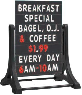 AARCO Products ROC-5 The Rocker™ double sided sidewalk sign with black changeable letterboard by Aarco Products