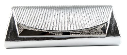 Scarleton Flap Clutch with Crystals H312717 – Silver, Bags Central