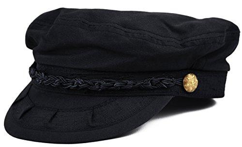 Deewang Mens Light Weight, Greek Fisherman Sailor Cap, Fiddler, Summer Hat (Black, L/XL)