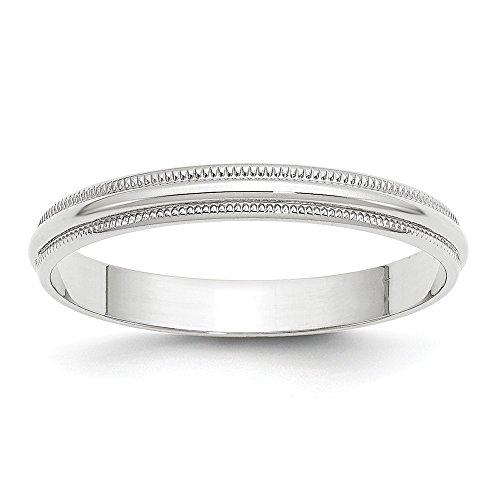 Jewels By Lux 10K White Gold 3mm Light Weight Milgrain Half Round Wedding Band Size 5.5