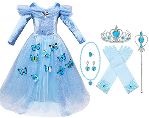 Cinderella Long Sleeve Princess Gown Costume Kid Halloween Party Girls Dress Set, Size 9-10 -