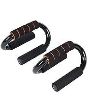Songmics Manijas Push Up S forma Soportes para flexiones y otros entrenamientos Fitness Color negro-naranja SPU82S