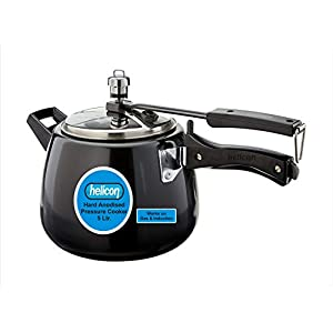 Helicon Hard Anodized Stainless Steel Contura Shape Pressure Cooker - 5 Liter Capacity (Works on Gas & Induction Both)