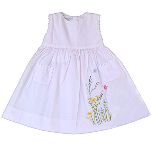 Girls Sleeveless Summer Dress with Hand Embroidered Flowers - Pink, 2T