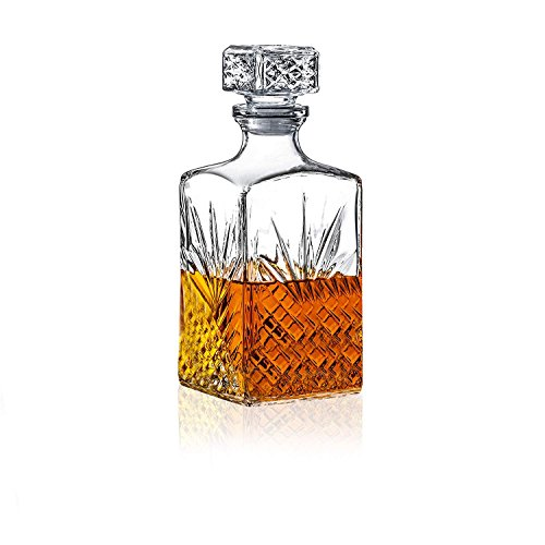 James Scott European Made Lead Free Crystal Liquor Decanter with Square Stopper- Irish Cut Whiskey Decanter for Wine, Bourbon, Brandy, Rum and Liquor 33-3/4-Ounce