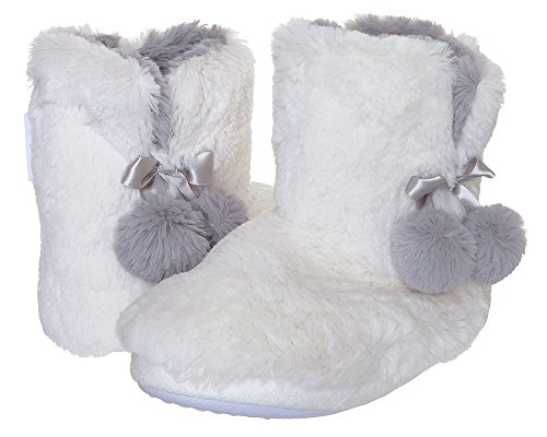 Capelli New York Ladies Indoor Slipper Faux Fur Bootie with Satin Bow Ivory Combo Medium New York Satin Bow