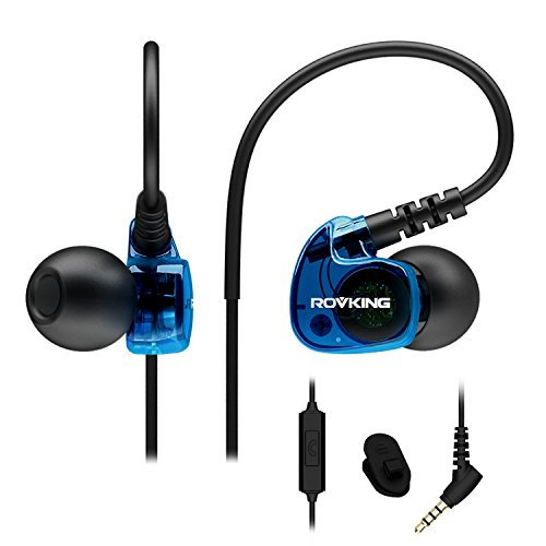 ROVKING Wired Sweatproof Earhook in Ear Sport Workout Headphones Noise Isolating Over Ear Earbuds with Microphone for Running Jogging Gym Exercise Earphones, Cell Phone Ear Buds Headset Blue