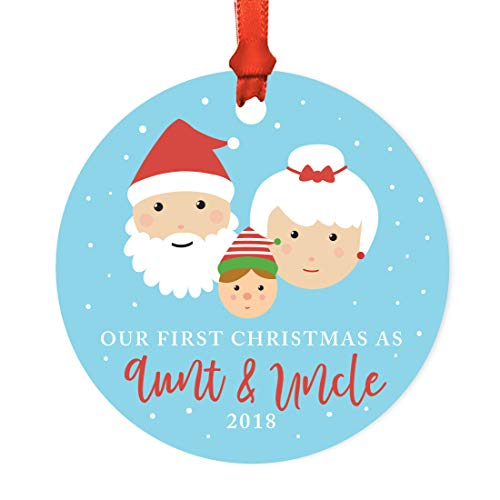 Andaz Press Family Round Metal Christmas Ornament, Our First Christmas As Aunt and Uncle 2018, Santa and Mrs. Claus with Elf, 1-Pack, Includes Ribbon and Gift Bag -  APP12123