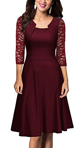 Burgundy Square Women's Swing with 4 Sleeve Vintage Neck Dresses Lace 1 SUJAN 3 Cocktail 4qxpg77