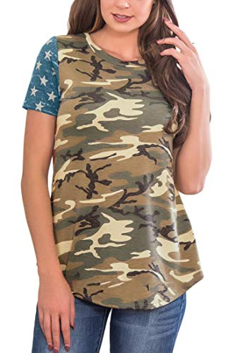 July 4th Womens Camo Printed Short Sleeve Tunic Top Cotton Casual Summer T Shirt with Pocket M