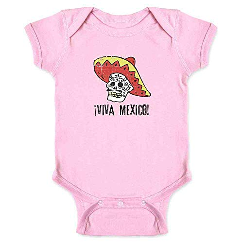 Viva Mexico Day of The Dead Sugar Skull Mariachi Pink 6M Infant Bodysuit ()