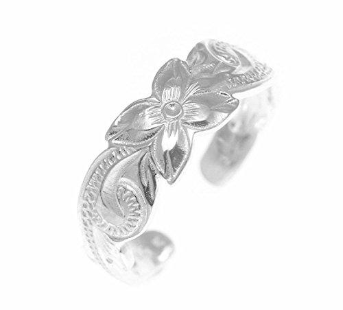 (925 sterling silver Hawaiian plumeria flower scroll 6mm cut out open toe ring)