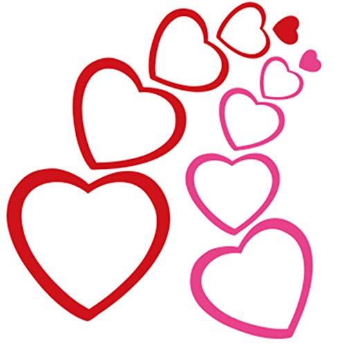 Red Pink 3D Heart Self-Adhesive Diy Stickers Living Room Mirror Kids Birthday -