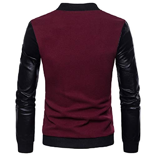 Jacket Plus Men Leather Howme Collar Long up Stand Size Coat Wine Red Sleeves wvRwxB