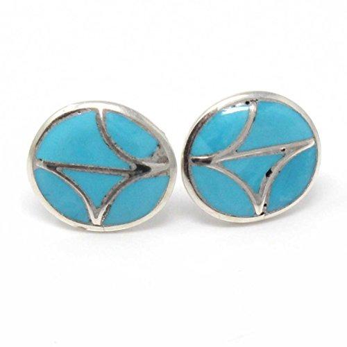 Zuni Turquoise Channel Inlay Earrings by Leekya