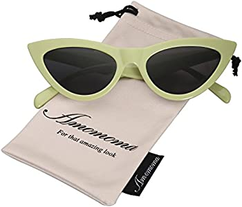 AMOMOMA Retro Vintage Narrow Womens Cat Eye Sunglasses