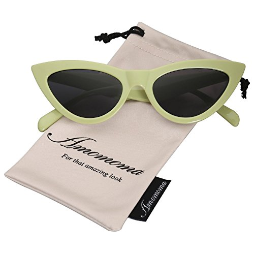 19666a1c2a AMOMOMA Retro Vintage Narrow Cat Eye Sunglasses for Women Clout Goggles  Plastic Frame AM2027