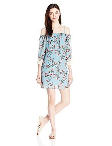 A. Byer Junior's Off the Shoulder Printed Shift Dress with Lace, Mint, L