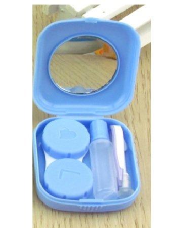 Mirror Contact Lenses (Lunar Baby 2 PCS Mini Travel Contact Lens Case Kit Holder Mirror Box-LB-001( blue ))