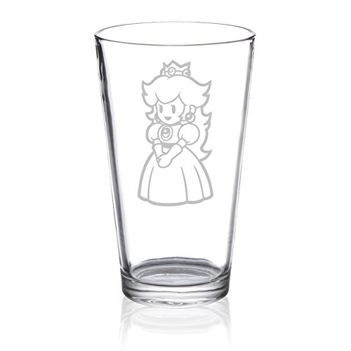 Super Mario Bros - Princess Peach - Etched Pint Glass (Toadstool From Mario)