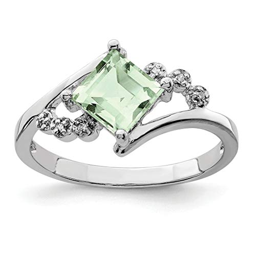 925 Sterling Silver Princess Cut Green Quartz Diamond Band Ring Size 6.00 Stone Gemstone Fine Jewelry For Women Gift Set