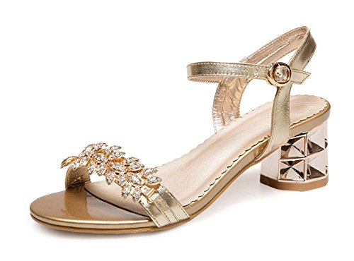 Aisun Donna Elegante Strass Open Toe Dress Sandalo Con Tacco Medio E Sandali Con Cinturini Alla Caviglia Color Oro