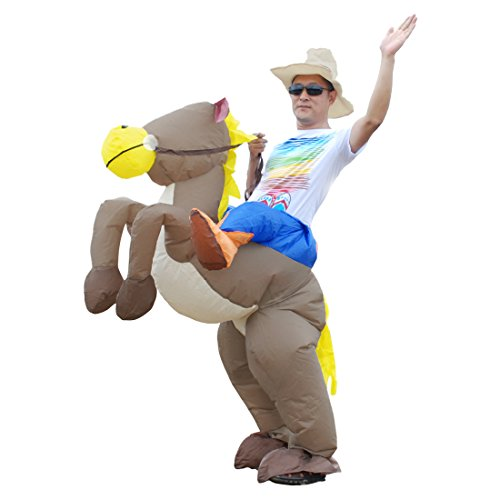 Inflatable Dinosaur Unicorn Riding on Animal Halloween Costume for Adult (Cowboy) (Inflatable Halloween Costume)