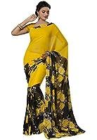 Ishin Georgette Saree (Ishinsb-V-8030_Yellow & Black)