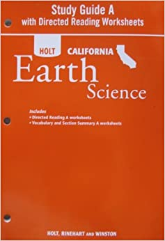 Printables Holt Earth Science Worksheets study guide a with directed readings worksheet for holt california earth science paperback january 1 2007