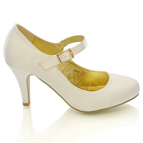 Stiletto Ivory Toe Court Womens Strap Heels Satin Bridal Shoes Satin Foot Heel GLAM Closed ESSEX OwqvXO