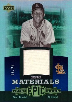 2006 Upper Deck Epic Materials Relics #EM-SM2 Stan Musial Game Worn Jersey Baseball Card - Only 25 made!