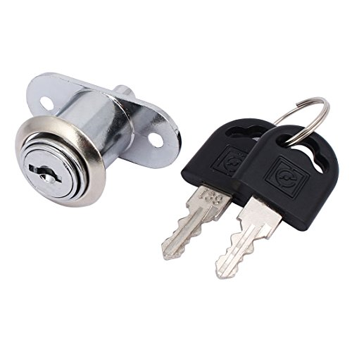 uxcell Cabinet Door Showcase Metal Sliding Locking Tubular Plunger Lock Silver Tone