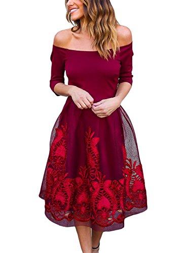 lace 3/4 sleeve skater dress - 9