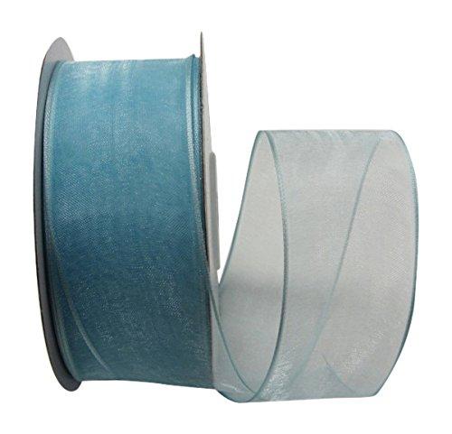 (Ribbon Bazaar Wired Sheer Organza 1-1/2 inch Light Blue 25 Yards)