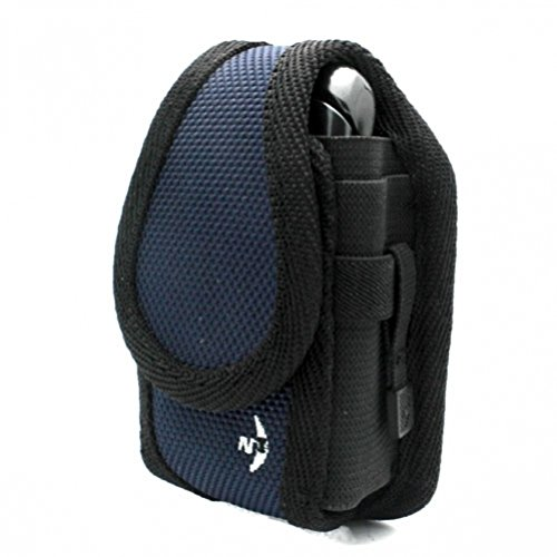 Navy-Black Nite Ize Rugged Cargo Case Belt Clip Holster Cover for US Cellular Samsung Gem SCH-i100 - Verizon Blackberry Pearl 8130 - Verizon Blackberry Pearl Flip 8230 - Verizon Blackberry - Leather 8130 Pearl