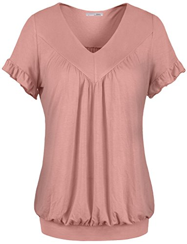 Messic Womens V Neck Short Sleeve Draped Patchwork Knitted Tunic Blouse Top – Medium, 27#Dark Pink